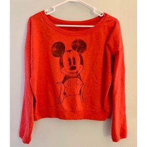 Red Mickey Mouse Disney VSCO crop top Sweatshirt